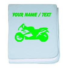 Custom Green Crotch Rocket Motorcycle baby blanket