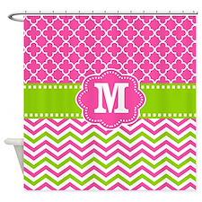Pink Green Chevron Quatrefoil Monogram Shower Curt
