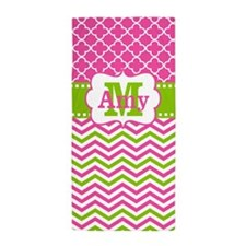 Pink Green Chevron Quatrefoil Personalized Beach T
