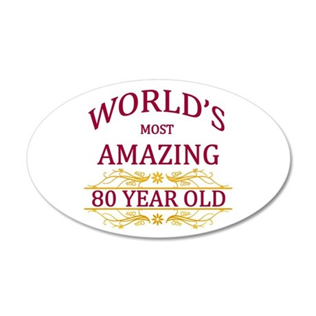 80th. Birthday 20x12 Oval Wall Decal
