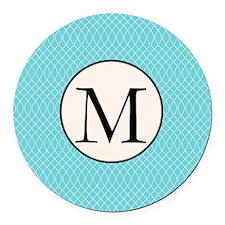 Aqua Monogram Round Car Magnet
