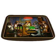 Poker Dogs Friend (brown Border) Bathmat