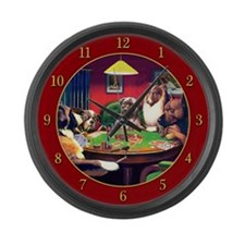 Poker Dogs Bluff (red Border) Large Wall Clock