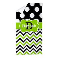 Black Green Dots Chevron Personalized Beach Towel