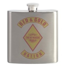 Red and gold support Mexican Flask