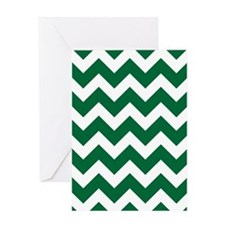 Green And White Chevron Greeting Cards