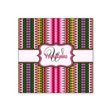"Abstract Floral Pattern Mon Square Sticker 3"" x 3"""