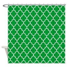 Green White Quatrefoil Shower Curtain
