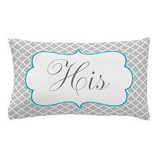 Gray Teal Quatrefoil Personalized Pillow Case