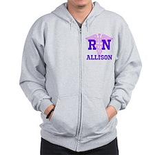 Personalized R N Zip Hoodie