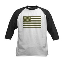 American Flag - Olive Drab Baseball Jersey