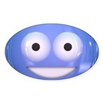 Candy Smiley - Blue Sticker (Oval 50 pk)