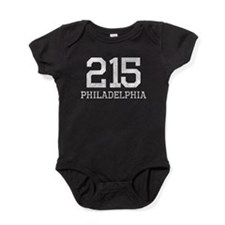 Distressed Philadelphia 215 Baby Bodysuit