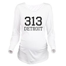 Distressed Detroit 313 Long Sleeve Maternity T-Shi