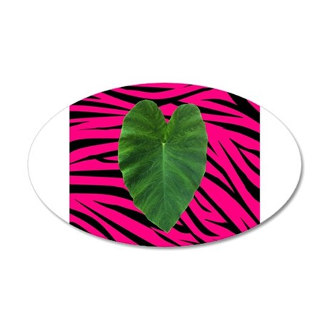 Leaf Heart on Pink and Black Zebra Stripes Wall De