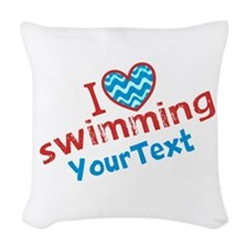 Custom Swim Optional Text Woven Throw Pillow
