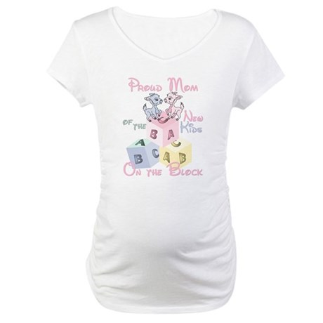 Proud Mom of boy/girl twins Maternity T-Shirt