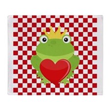Frog Prince on Red and White Throw Blanket