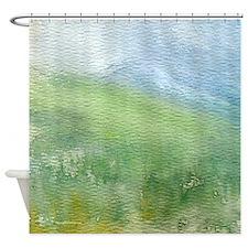 Watercolor Mountain Landscape Shower Curtain