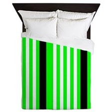 Neon Green Black White Stripes Queen Duvet