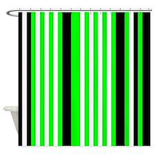 Neon Green Black White Stripes Shower Curtain