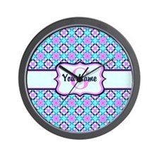 Teal & Pink Retro Floral Pattern Custom Wall Clock