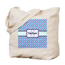 Teal & Pink Retro Floral Pattern Custom M Tote Bag