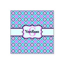 """Teal & Pink Retro Floral Pa Square Sticker 3"""" x 3"""""""
