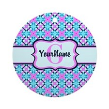 Teal & Pink Retro Floral Pattern Ornament (Round)