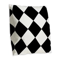 Retro Black And White Diamonds Burlap Throw Pillow