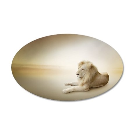 White Lion 35x21 Oval Wall Decal