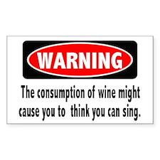 Wine Warning Rectangle Sticker