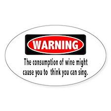 Wine Warning Oval Sticker