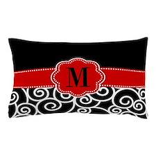 Black Red Swirls Monogram Pillow Case