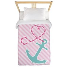Cute Anchor with Heart Rope on Pink Stripe Twin Du