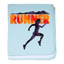female runner.png baby blanket