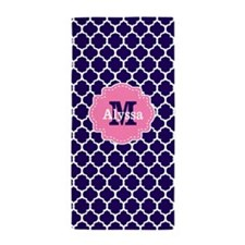 Navy Pink Quatrefoil Personalized Beach Towel