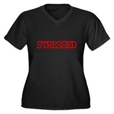 Cute Stressed Women's Plus Size V-Neck Dark T-Shirt