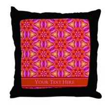 Orange Pink Floral Personalized Throw Pillow