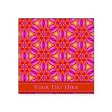 "Orange Pink Floral Personal Square Sticker 3"" x 3"""