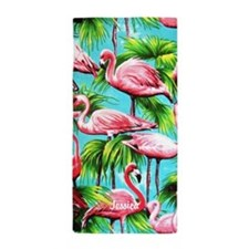 Pink Flamingo Personalized Beach Towel
