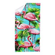 Pink Flamingo Personalized Beach Towel