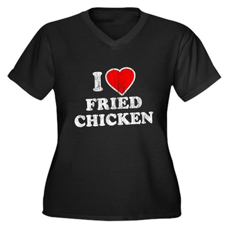 I Love [Heart] Fried Chicken Womens Plus Size V-N