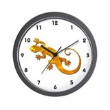 Golden Yellow Gecko Wall Clock