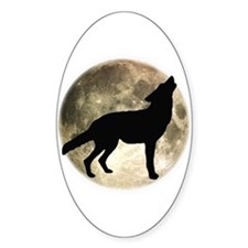 Coyote Howl Moon Oval Decal