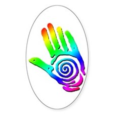 Rainbow Petroglyph Hand Oval Decal