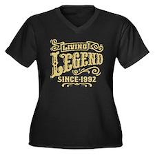 Living Legen Women's Plus Size V-Neck Dark T-Shirt