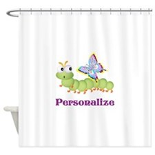 Personalize Wiggle worm Butterfly Shower Curtain