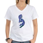 Blue Kokopelli Women's V-Neck T-Shirt