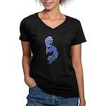 Blue Kokopelli Women's V-Neck Dark T-Shirt